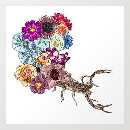 Floral Scorpion Art Print