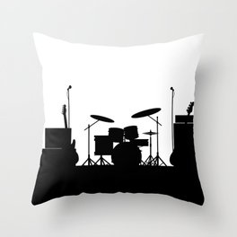 Rock Band Equipment Silhouette Throw Pillow