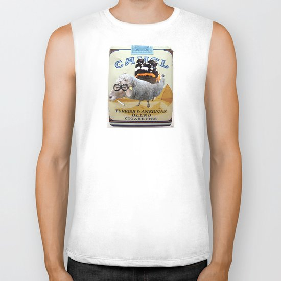 Sheep smoking... Biker Tank