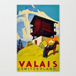 Vintage Valais Switzerland Travel Canvas Print