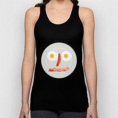 Illustration of a face made of egg with sausage as nose and bacon as mouth done in retro style.  Unisex Tank Top