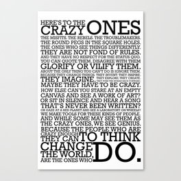 Here's To The Crazy Ones - Steve Jobs Canvas Print