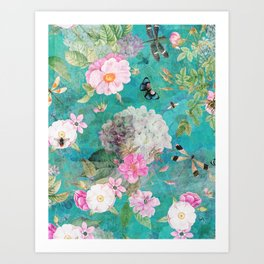 Summer Blue Botanical Flower Roses Garden Art Print