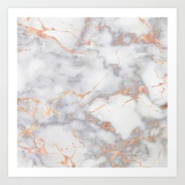Gray Marble Rosegold  Glitter Pink Metallic Foil Style Art Print