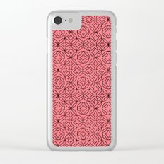 Ancient Pattern Illustration in Rose Clear iPhone Case