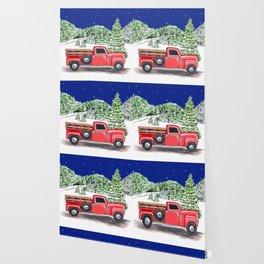 Old Red Farm Truck Winter Wallpaper
