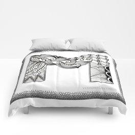 Zentangle M Monogram Alphabet Initials Comforters