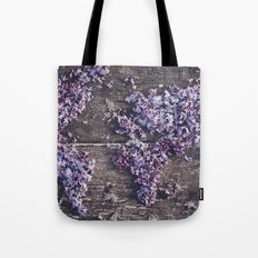 Lilac world map Tote Bag