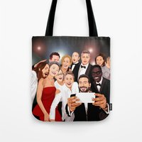 cartoons Tote Bags featuring Cute Celebrity Selfie Photo Cartoons iPhone 4 4s 5 5s 5c, ipod, ipad, pillow case and tshirt by Three Second