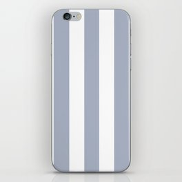 Cadet blue (Crayola) - solid color - white vertical lines pattern iPhone Skin