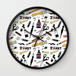 I Love Art Supplies Wall Clock