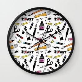 I Love Art Supplies Wall Clock