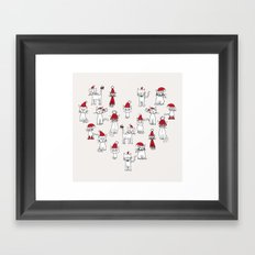 Cats in Christmas hats loveheart Framed Art Print