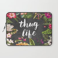 elegant Laptop Sleeves featuring Thug Life by Text Guy
