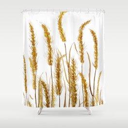 golden wheat field watercolor Shower Curtain