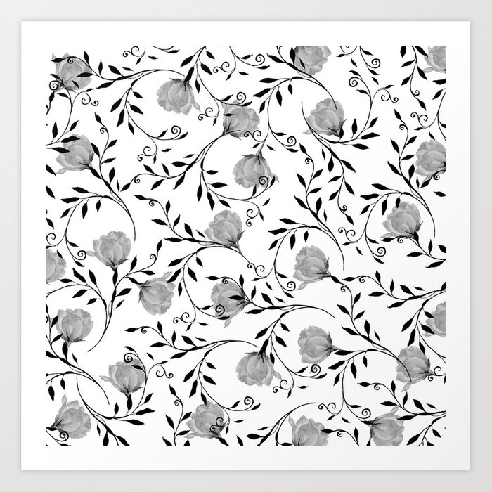 Black White Watercolor Botanical Roses Floral Art Print By