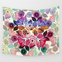 Pink and indigo flower pattern Wall Tapestry