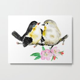birds and apple flower blossom Metal Print