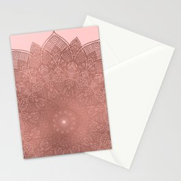Dreamcatcher Sunset - abstract bronze rose gold mandala, blush pink Stationery Cards