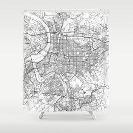 Taipei White Map Shower Curtain