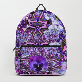 AWESOME GEOMETRIC LILAC PURPLE PANSIES GARDEN ART Backpack