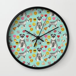 schnauzer emoji dog breed pattern Wall Clock