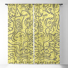Yellow Graffiti Street Art Posca  Sheer Curtain