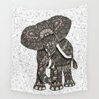 ornate elephant Wall Tapestries featuring Elephant 2015 by ArtLovePassion