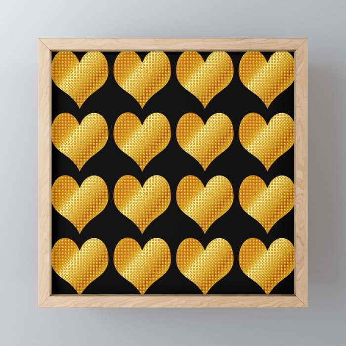 Golden hearts-Black Framed Mini Art Print