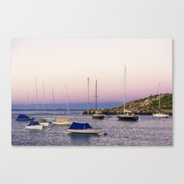 Earth's shadow over the harbor Canvas Print