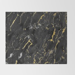 Gold Flecked Black Marble Throw Blanket