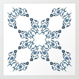 Blue Floral Heart Tile Art Print