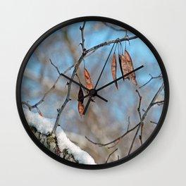Snowy Branch Wall Clock
