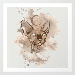 Watercolor Sphynx (Sepia/Coffee stain) Art Print
