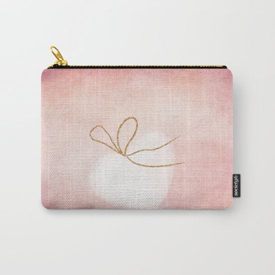 LOVE in pink - Watercolor heart with gold bow on pink backround Carry-All Pouch