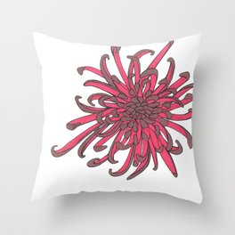 Red and Copper Chrysanthemum Throw Pillow
