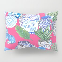 Chinoiserie chic, Chinese ginger jars on hot pink Pillow Sham