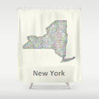 new york map Shower Curtains featuring New York map by David Zydd
