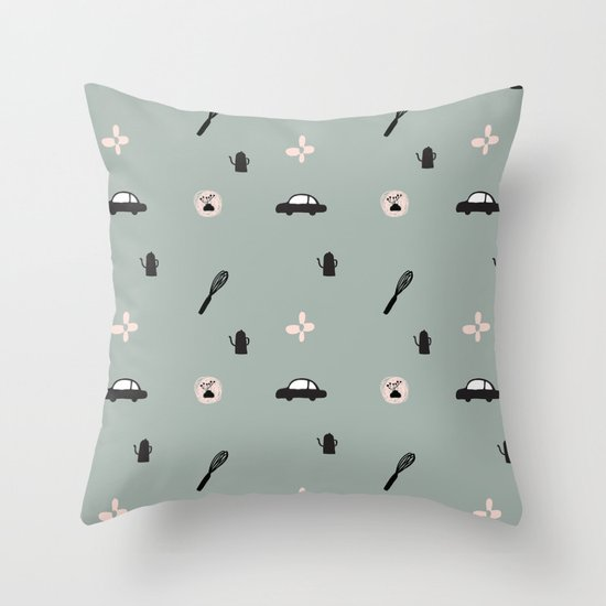 Kitchen Story Pattern Throw Pillow