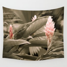 Ginger Plant in Black, White, Pink - Exotic, Tropical Wall Tapestry