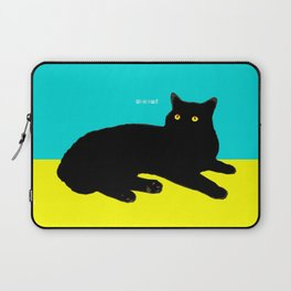 Black Cat on Yellow and Sky Blue Laptop Sleeve