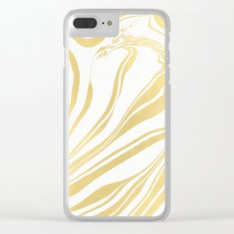 Bronze Copper Gold Rush Marble Ink Swirl Clear iPhone Case