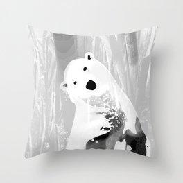 Unique Black and White Polar Bear Design Throw Pillow