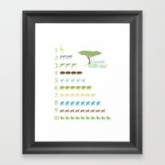Counting Safari Animals - Grass Stains colorway Framed Art Print