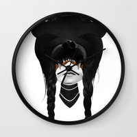 bear Wall Clocks featuring Bear Warrior by Ruben Ireland