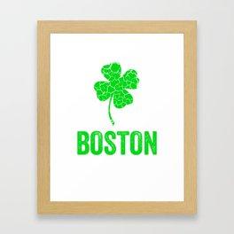 Boston Irish, St Patricks Day, Four Leaf Clover Framed Art Print