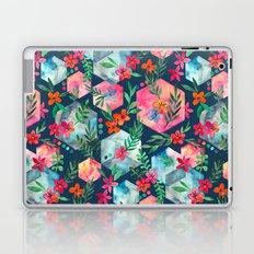 Whimsical Hexagon Garden on Blue Laptop & iPad Skin