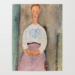 """Amedeo Modigliani """"Girl with a Polka-Dot Blouse (Jeune fille au corsage à pois)"""" Poster"""
