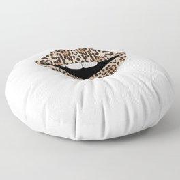 Cheetah Pattern Lips Leopards Fur Kiss Mouth Animal Print Floor Pillow