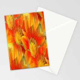 Seamless Pattern Of Vibrant Orange Gazania Flower Stationery Cards